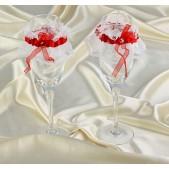 Подвязки на бокалы красно-белые