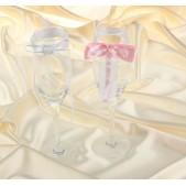 Подвязки на бокалы розово-белый