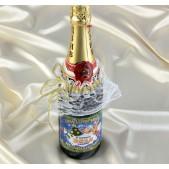 Набор костюмов на шампанское белый бант с золотом
