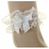Подвязка-юбочка невесты на ногу с голубым цветком