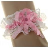 Подвязка невесты атласная с розовой лентой