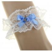Подвязка-рюш невесты на ногу, цвет голубой
