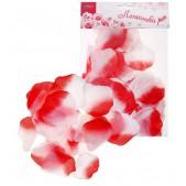 Лепестки роз, цвет - красно-белый, набор 150 шт