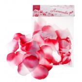 Лепестки роз, цвет - фуксия-белый, набор 150 шт