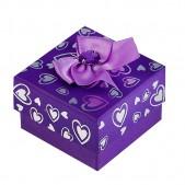"""Коробка подарочная """"Сердца"""", цвет фиолетовый"""